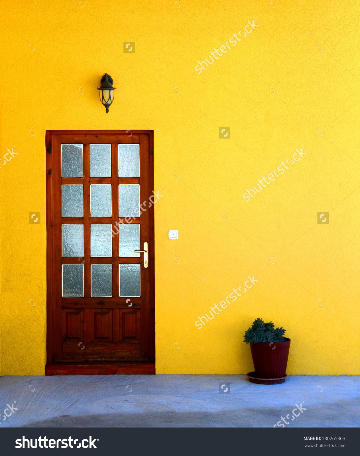Yellow House Wall Door Flower Pot Stock Photo 130265363.