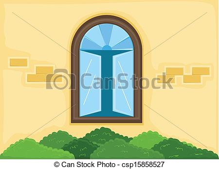 Vector Illustration of House Window Outside Wall Vector.