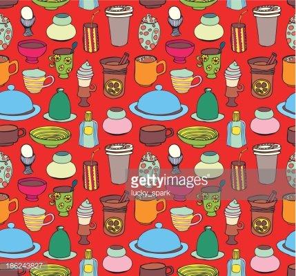 Seamless kitchen pattern, housewares. Clipart Image.