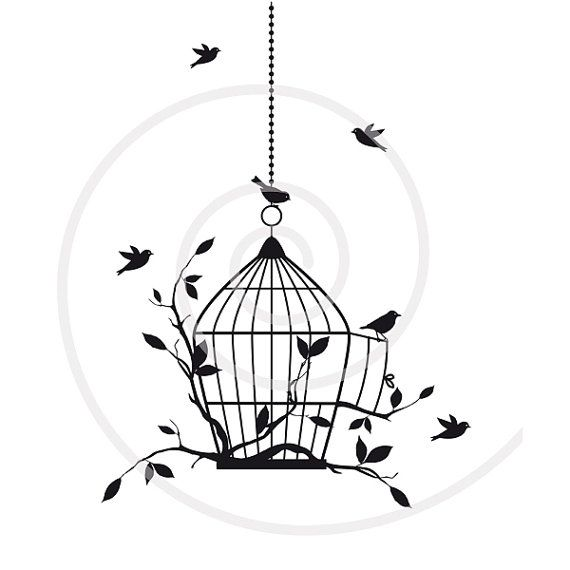 Birds with open birdcage, digital clip art, clipart, housewarming.