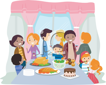Illustration of a Housewarming Party.