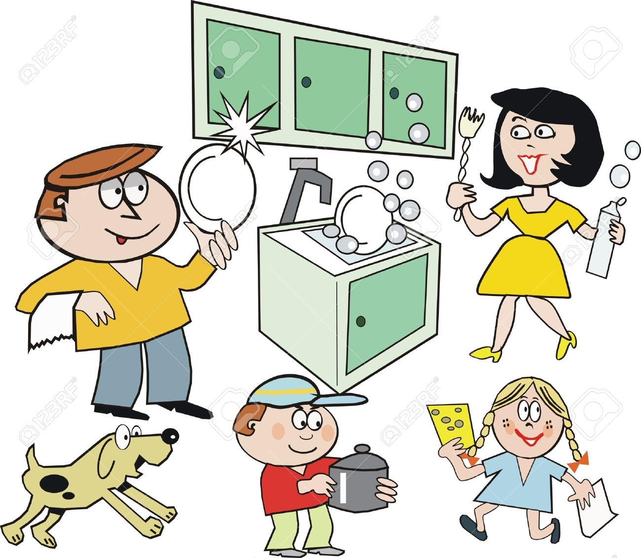 Clipart of household chores.