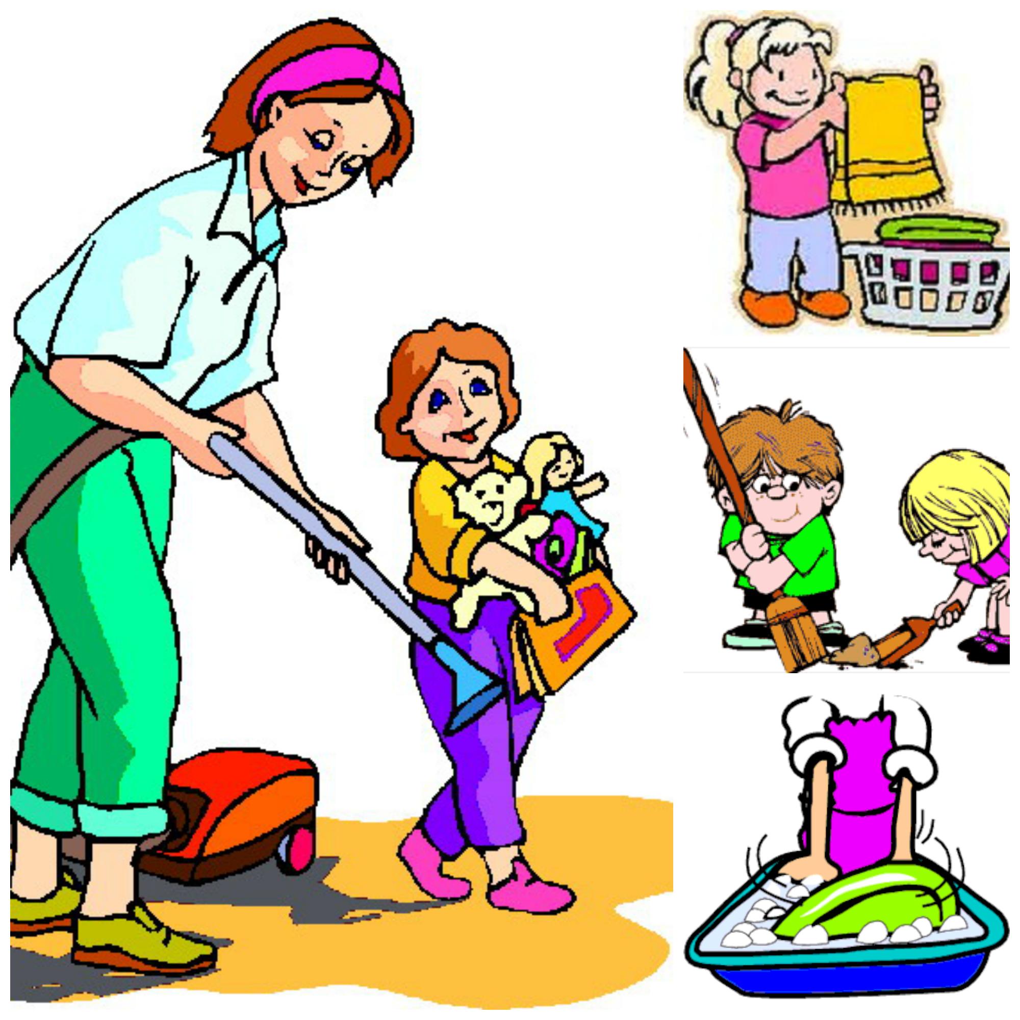 Family doing household chores clipart.