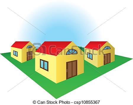 Clip Art Vector of Houses on the corner of the residental block.