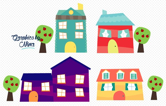 Cute little houses clipart ~ Illustrations on Creative Market.