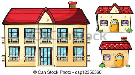 Clip Art Vector of A big apartment and two small houses.