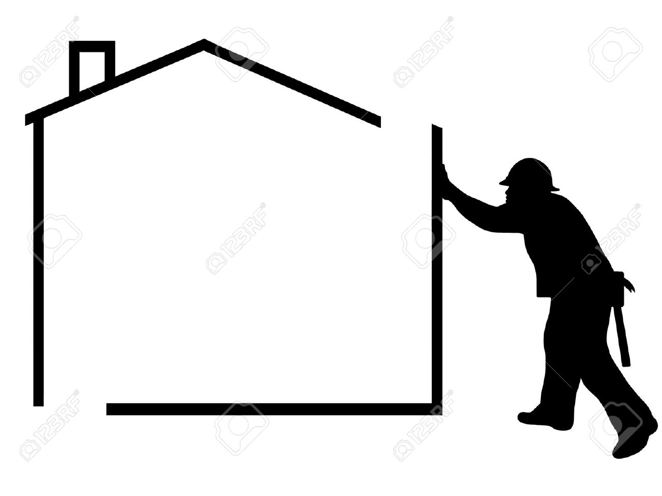 People and houses clipart.