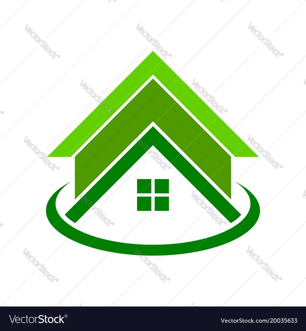 Global green housing logo symbol.