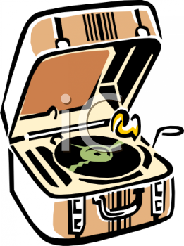 Royalty Free Clip Art Image: Retro Record Player with a Case.