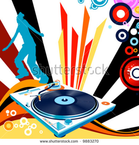 Partying; Abstract Design With Turntable And Kid Silhouette Stock.