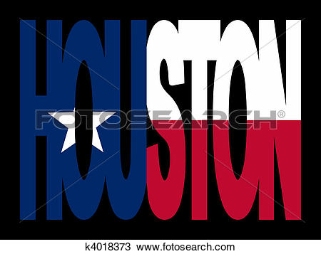 Drawing of Houston with Texan flag k4018373.