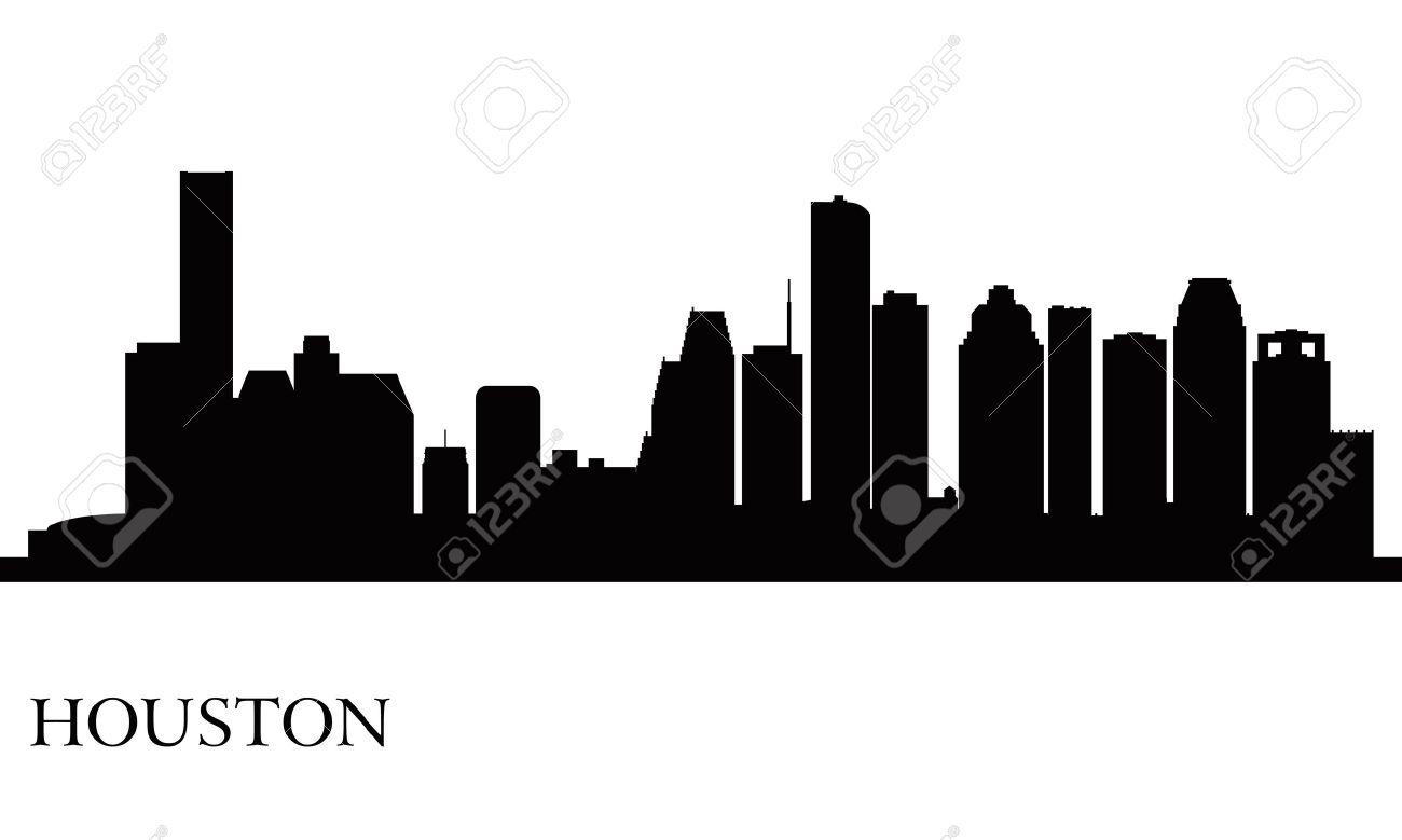 Houston city skyline silhouette background.