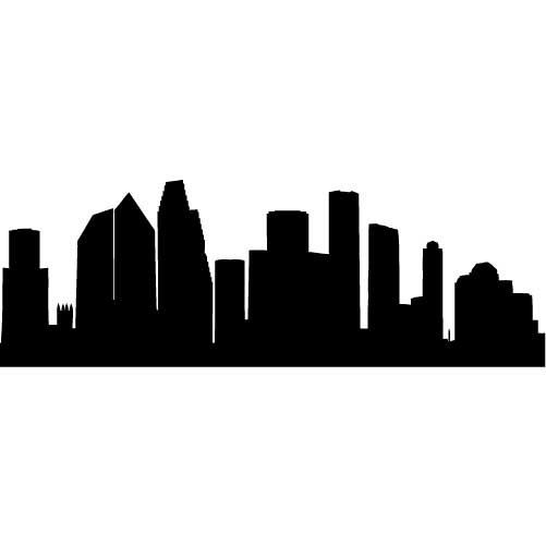Houston Skyline Silhouette LARGE Vinyl Wall Decal by.