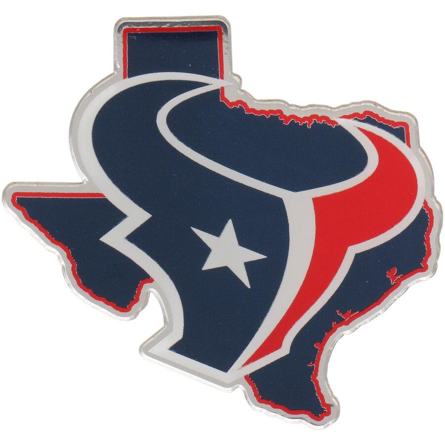 Houston Texans State Shape Acrylic Metallic Auto Emblem.