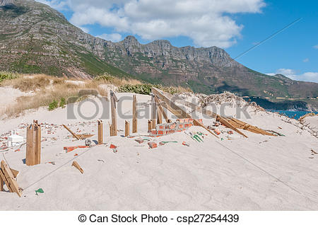 Stock Photos of Old police station at Hout Bay reclaimed by sand.