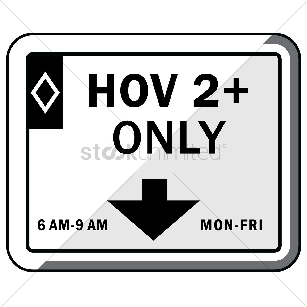 Hov lane assignment (overhead) Vector Image.