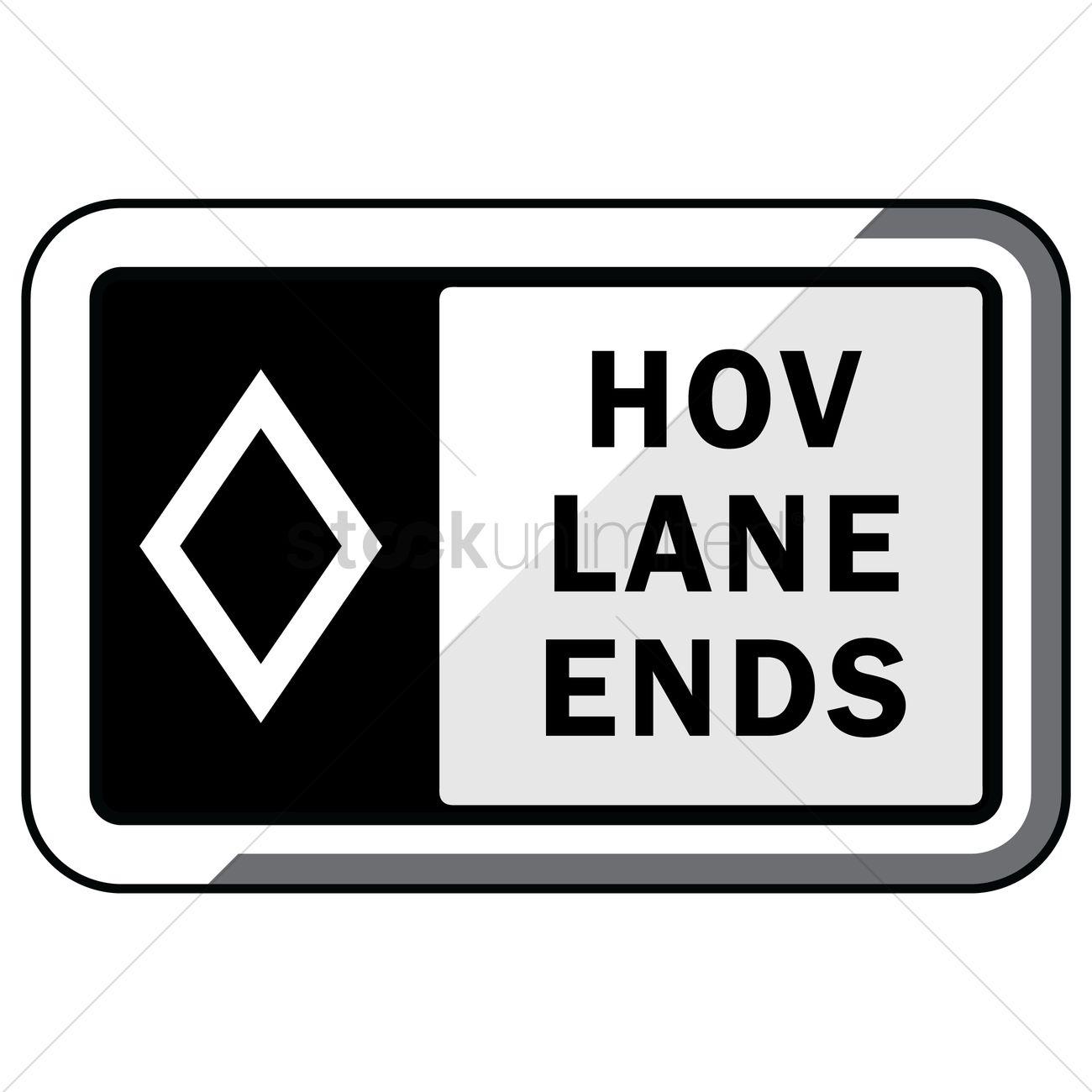Hov lane ends (overhead) Vector Image.