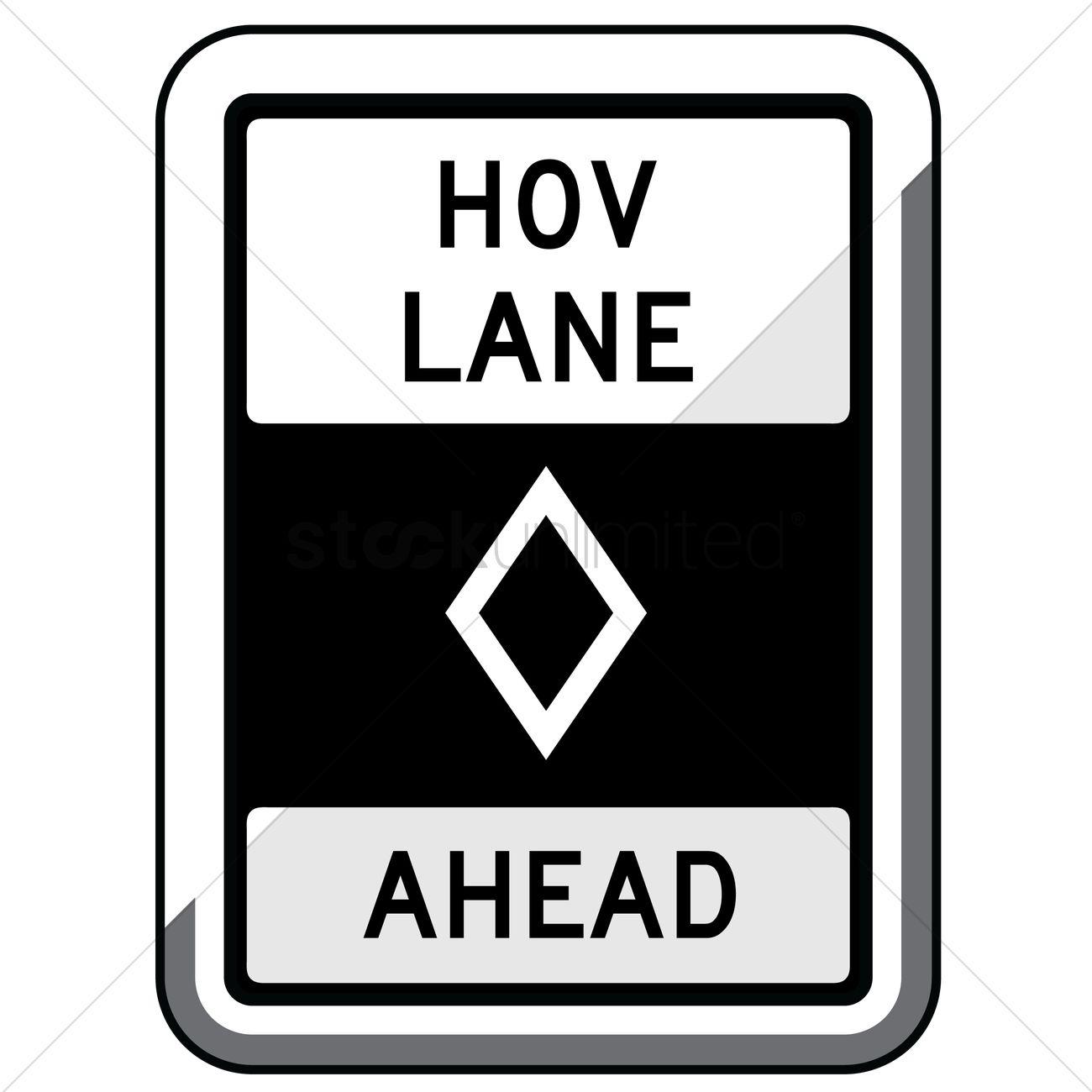 Hov lane ahead (ground mount) Vector Image.