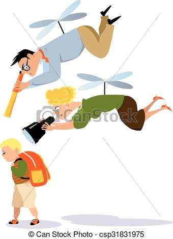 Vectors Illustration of Helicopter parenting.