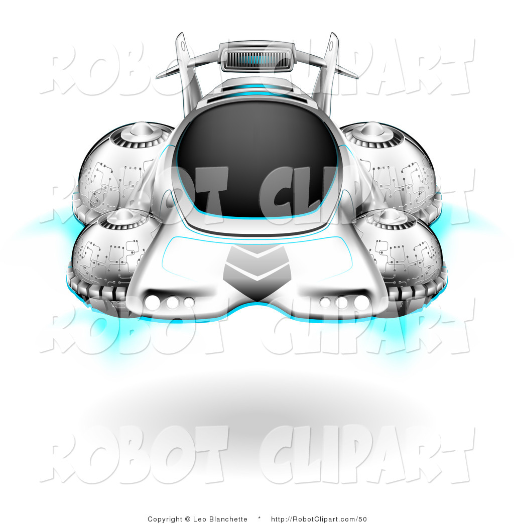 Clipart of a Futuristic Hover Car Floating Above the Ground by Leo.