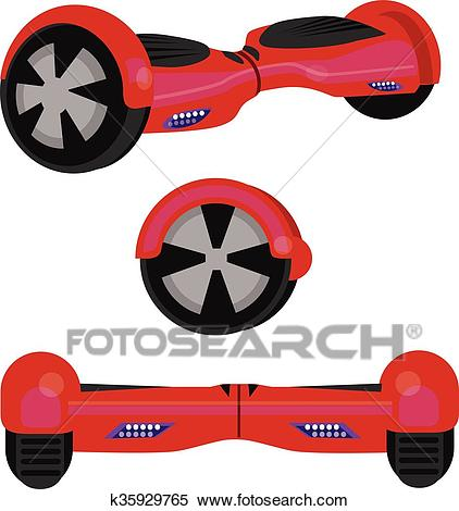 Hoverboard hover board vector wheel device technology vehicle rie  illustration red Clipart.
