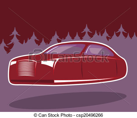 Clip Art Vector of Flying car road in the woods.
