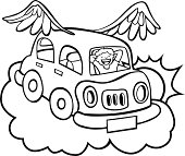 Flying Car Line Art Vector Art.
