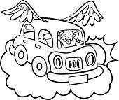 Flying Car Line Art Vector Art.