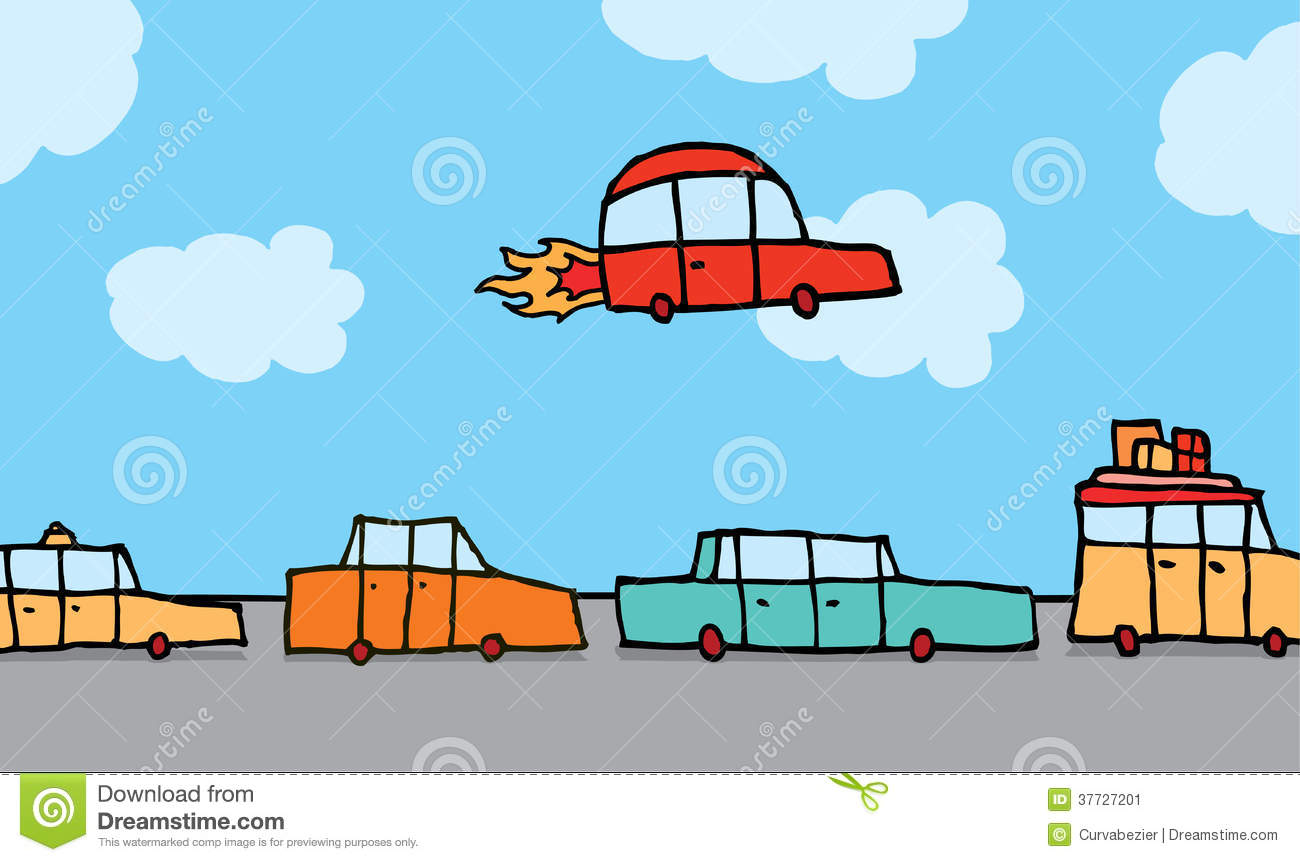 Blue Flying Car Clipart.
