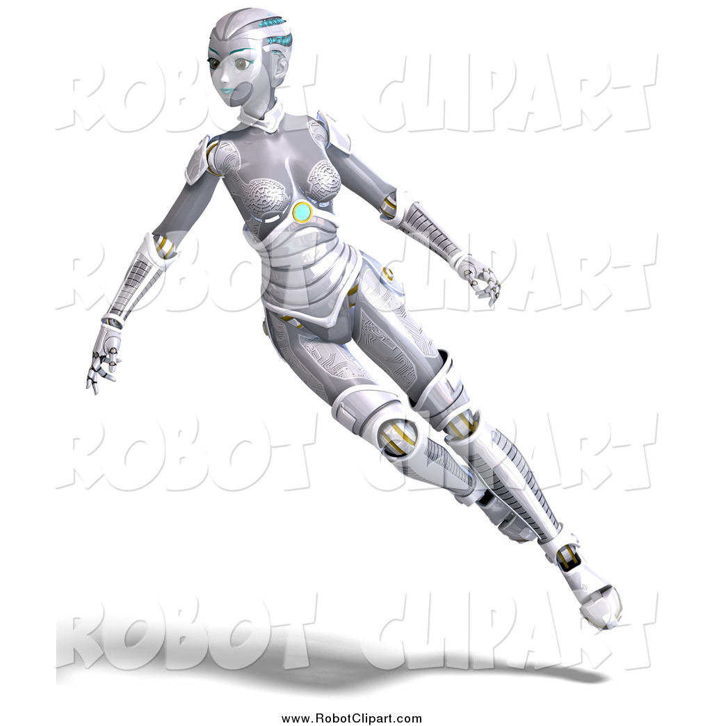 Clipart of a 3d Futuristic Female Sci Fi Robot Hovering by Ralf61.