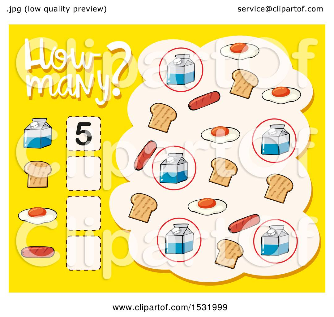 Clipart of a How Many Math Worksheet.