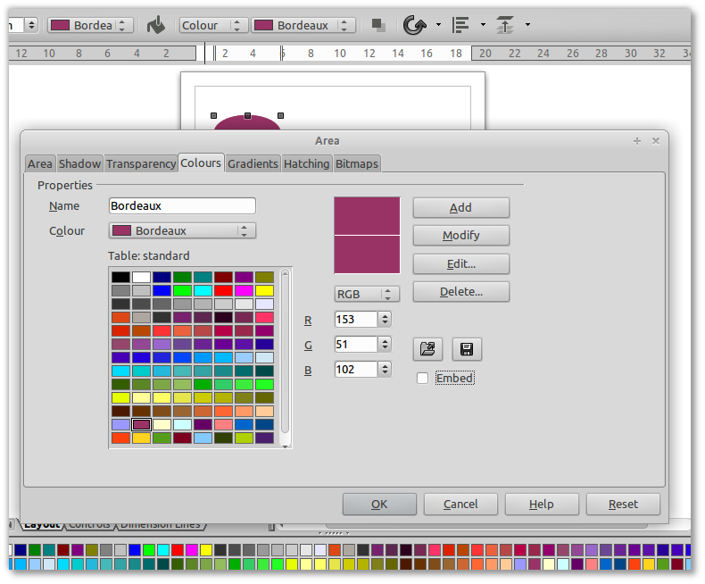 How to set the color of a shape in LibreOffice Draw [closed].