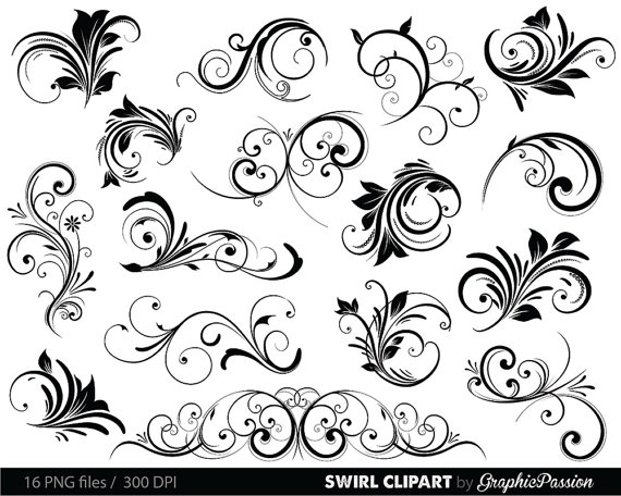 Swirls Clipart Digital Swirls Clip Art Vector Swirls Photoshop.