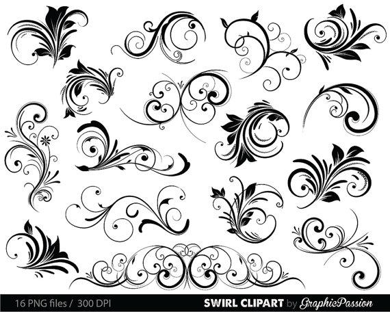 Swirls Clipart Digital Swirls Clip Art Vector Swirls Photoshop.