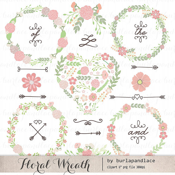 Hand Drawn clipart wreaths floral, color clipart laurels and.