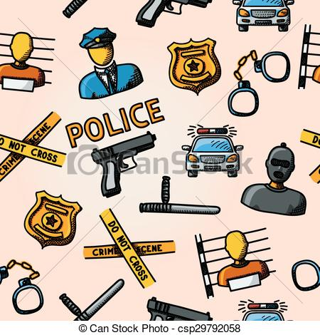 Clipart Vector of Color hand drawn police pattern.