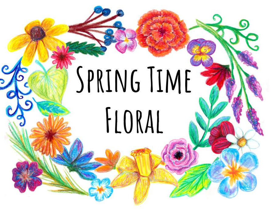 Spring Time Hand Drawn Floral Clip art, hand drawn clipart color.