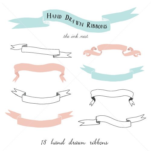 CLIP ART Hand Drawn Ribbons for commercial and personal.