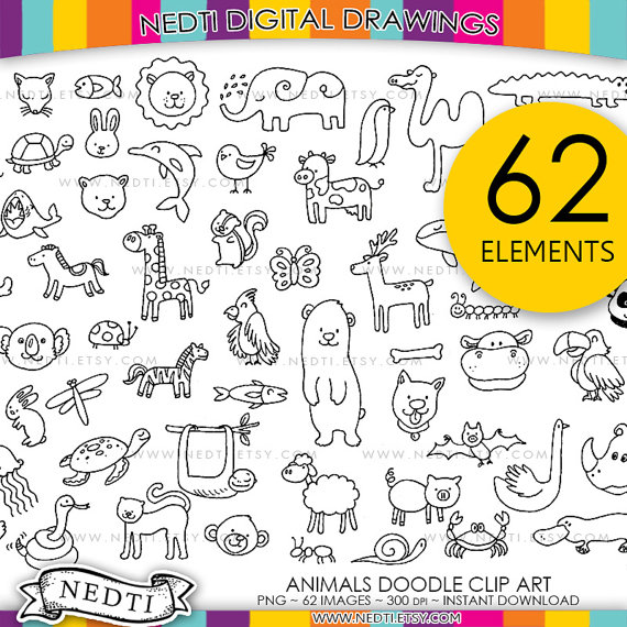 Animal Drawings Hand Drawn Clip Art by Nedti on Etsy.