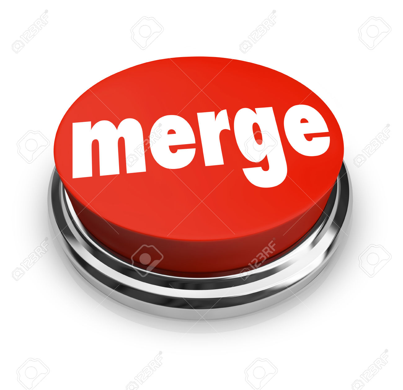 Merge Word On A Big Red Button To Illustrate Combining Companies.