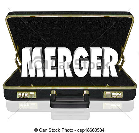 Stock Photos of Merger Word Business Briefcase Combine Companies.