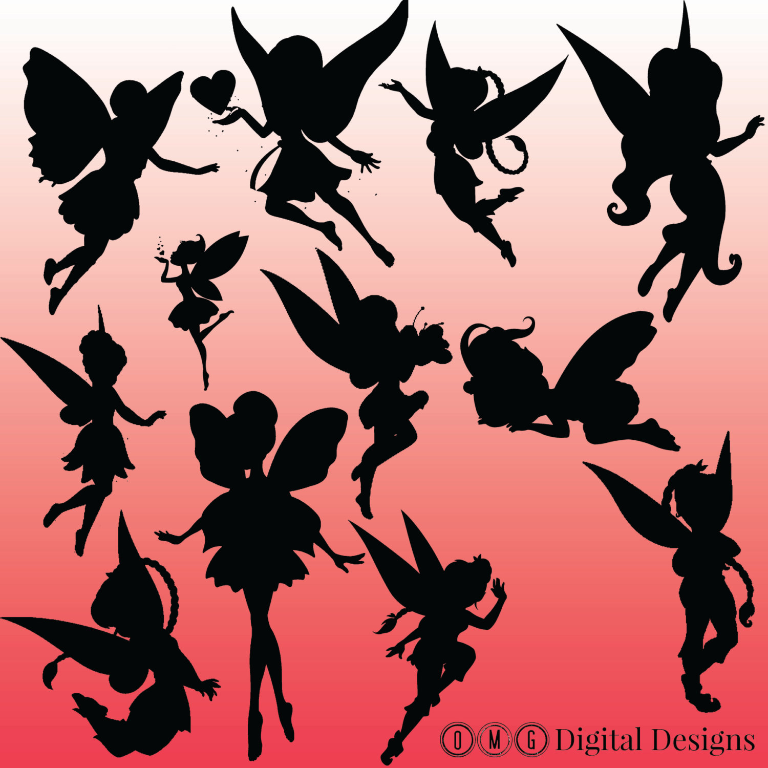12 Fairy Silhouette Clipart Images, Clipart Design Elements.