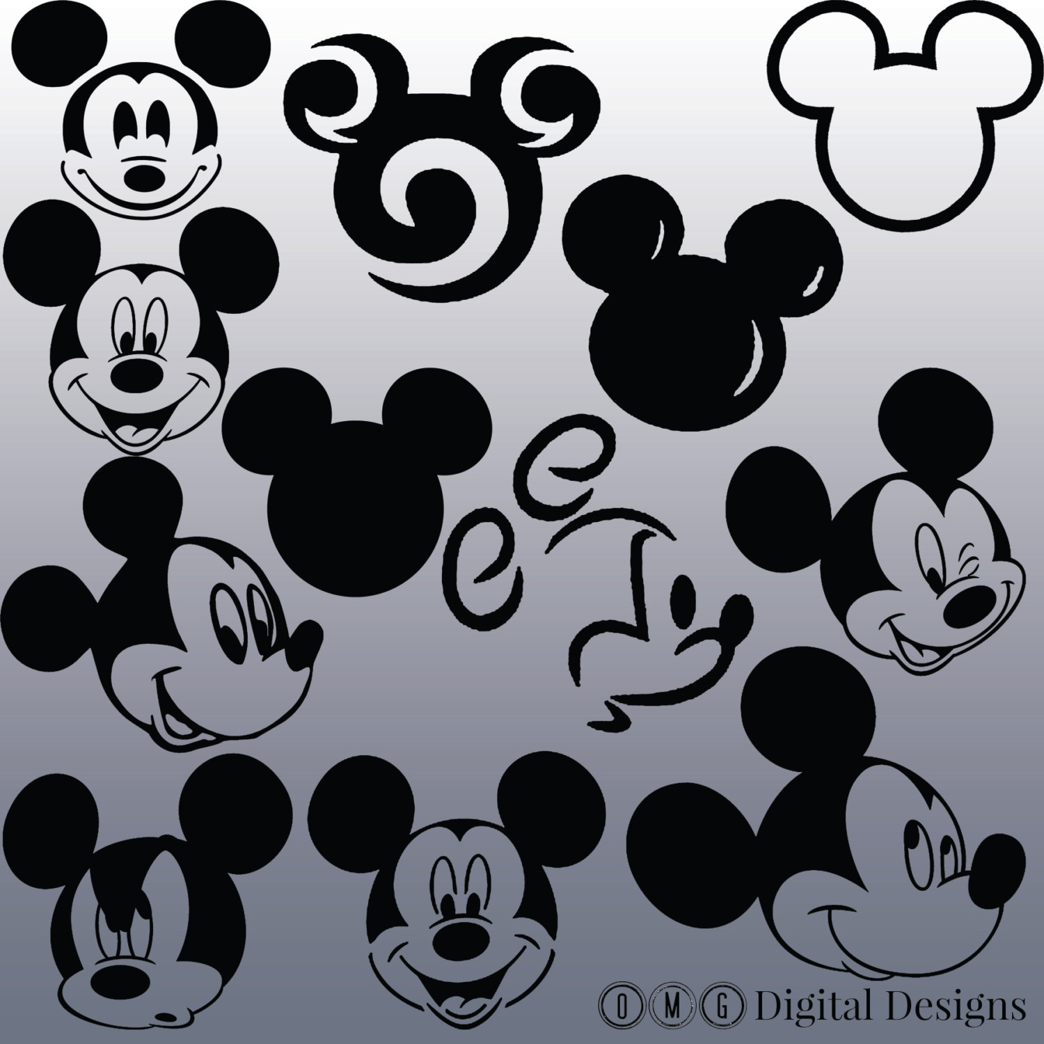 12 Mickey Mouse Head Silhouette Clipart Images, Clipart Design.