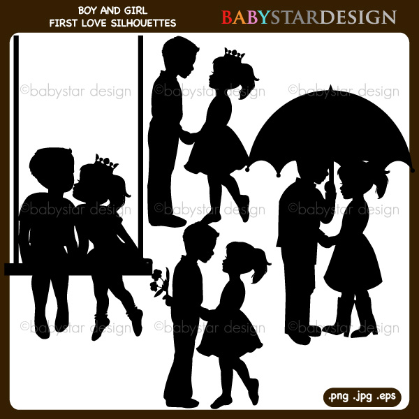 Boy and Girl First Love Silhouettes Clipart.