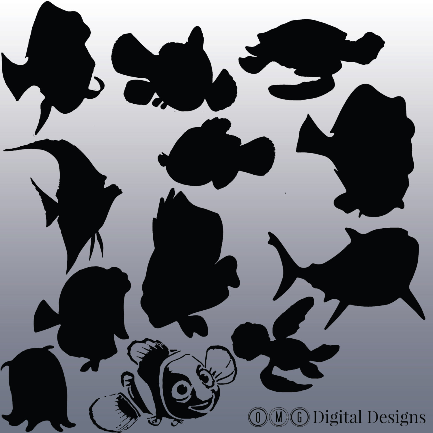 12 Finding Nemo Silhouette Clipart Images, Clipart Design Elements.