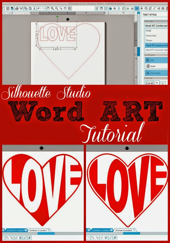 Silhouette Studio Word Art Tutorial (Shape Text: Heart.