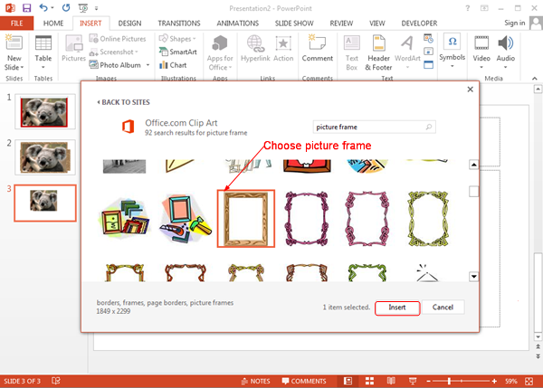 how to insert a clipart border in word 2013
