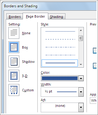 Add, change, or delete borders from documents or pictures.