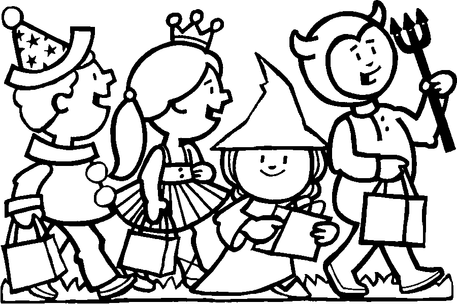Trick Treating Coloring Pages Free Printable.
