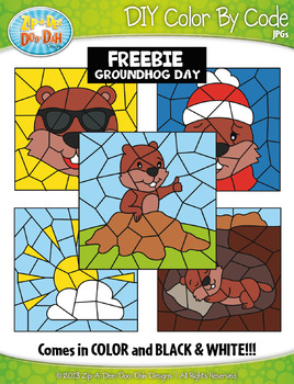 FREE GROUNDHOG DAY Create Your Own Color By Code Clipart SetYou.